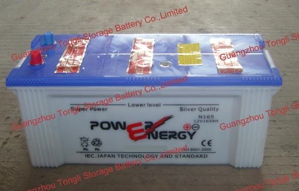 N165 12V165ah JIS Standard Lead Acid Dry Charged Car Battery