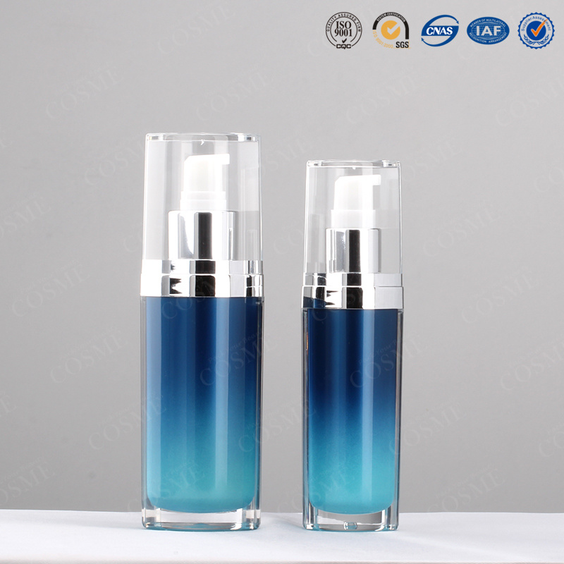 15ml 30ml 50ml 120ml Oval Silver Plastic Acrylic Luxury Cosmetic Packaging Lotion Pump Bottle