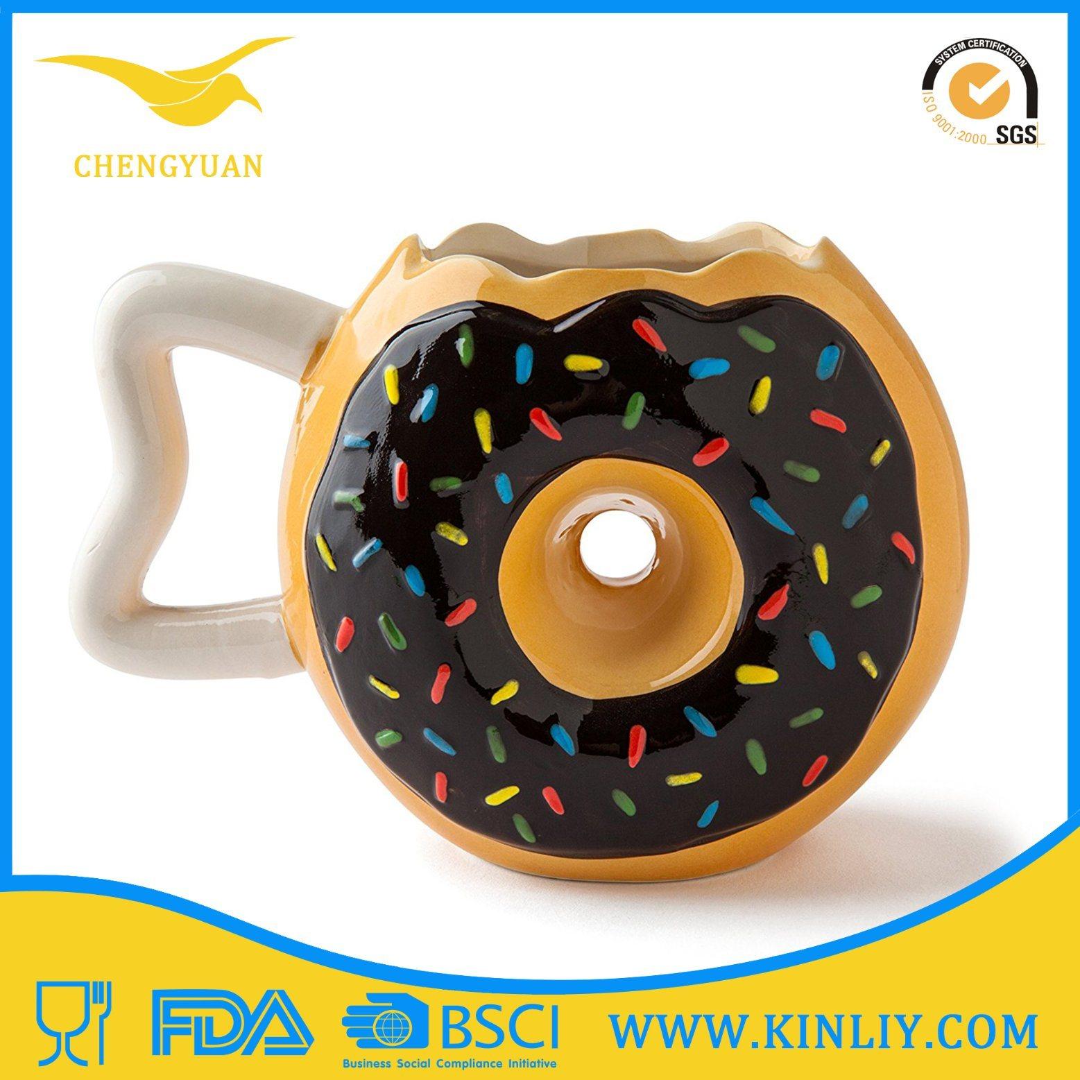 Ceramic Funny Tea Cup Large Coffee Mug with Doughnut Design
