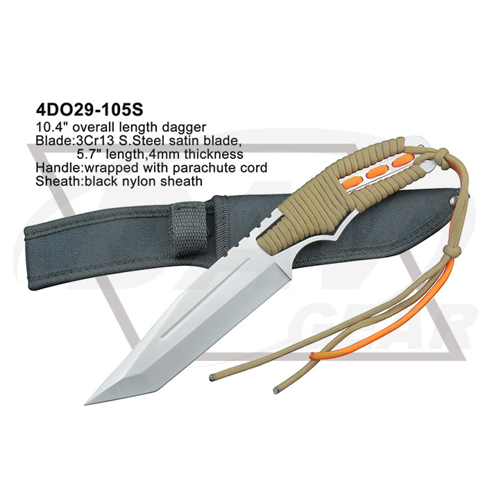"""9.7"""" Red Blade Blue Handle Tactical Fixed Blade Knife Dagger"""