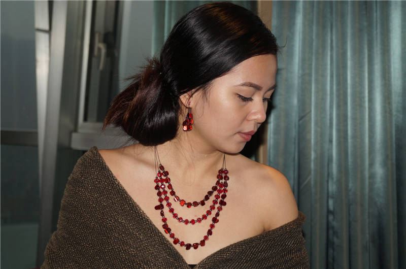 Layers Beads and Chain Necklace and Jewelry Set with Red Stone by Handcraft