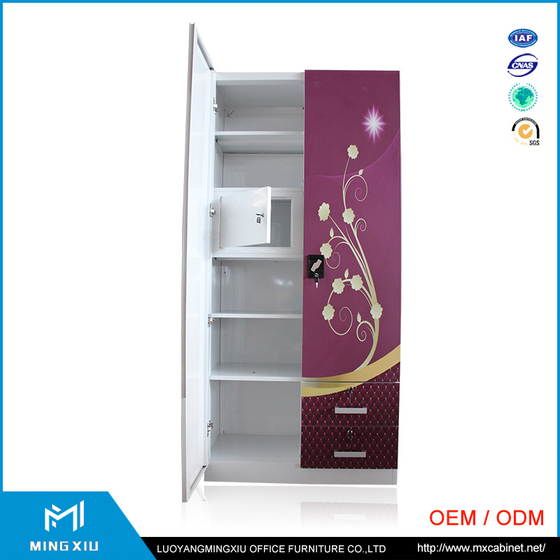 Steel Furniture Producer Cheap 2 Door Steel Clothes Indian Transfer Printing Wardrobe