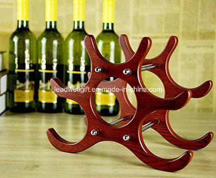 6-Bottle Wooden Fashion Decorative Wine Rack Home Furniture