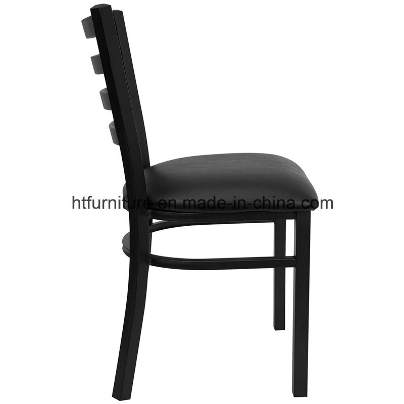 Ladder Back Metal Restaurant Chair with Vinyl Seat
