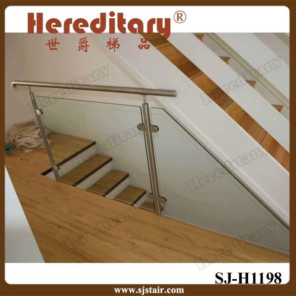 Indoor Wood Handrail Stainless Steel Glass Stair Railing (SJ-S087)