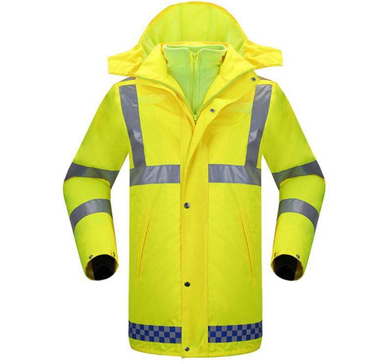 Fluorescent Yellow Fleece Windproof Warm Thick Reflective Traffic Patrol Duty Rain Coat