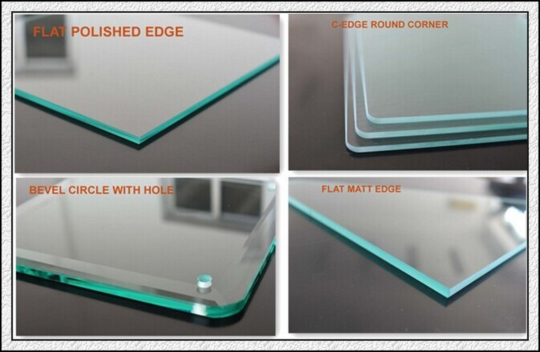 Toughened Glass with Pencile Edges / Polished Edegs / Round Edges