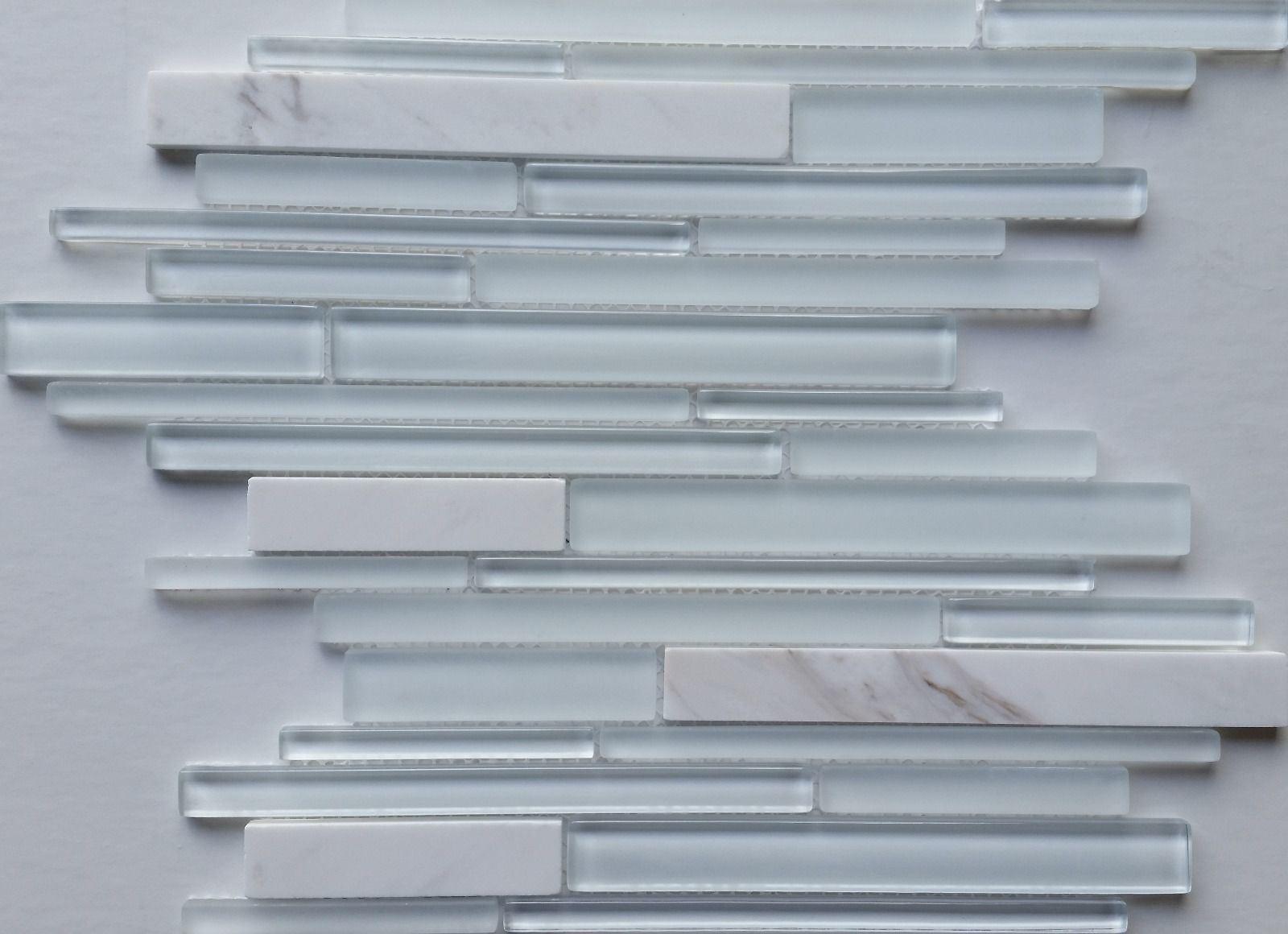 Glass Tile White Mix with Stone Back Splash Wall Pool Bathroom Bolero Design