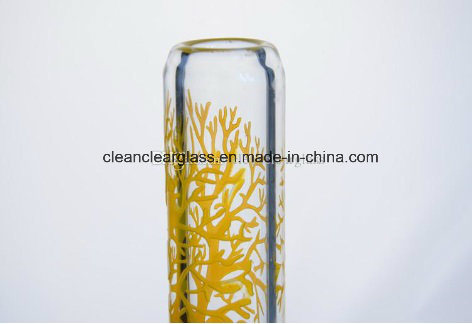 9mm Thick Sandblasted Colored Tree Glass Water Pipe Smoking Pipe Classic Beaker with Downstem