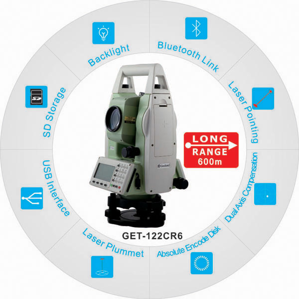 650m Reflectorless Total Station for Topographic Cadastral & Construction Surveying