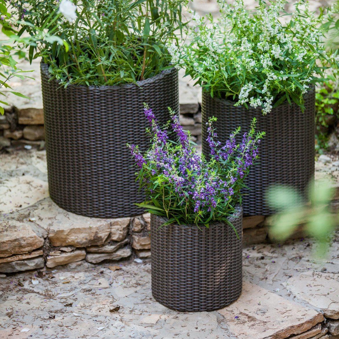 Well Furnir T-024 3 Piece Polypropylene Resin Rattan Pot Planter Set