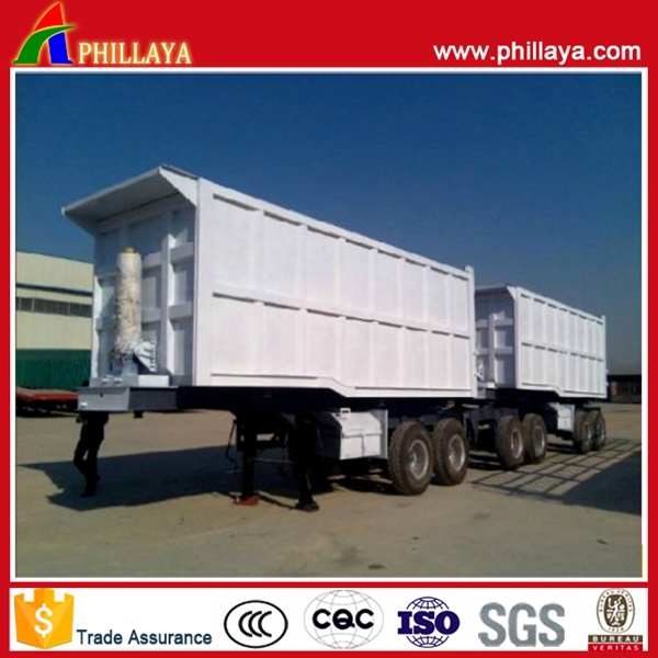 Double Box Side Tipping Semi Trailer/Dump Superlink Trailer