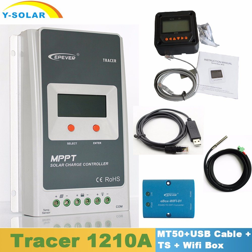 Epever Tracer1210A 10A 12V24V Kit MPPT Solar Controller with Mt50 Display/USB Cable/Temperature Sensor/WiFi Box Including
