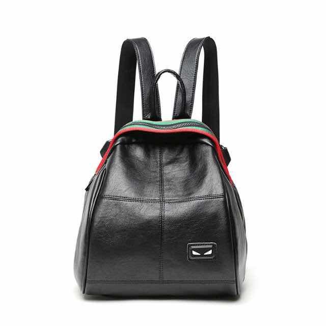 Hot Selling Black PU Leather Custom Backpack (SMA-17020)