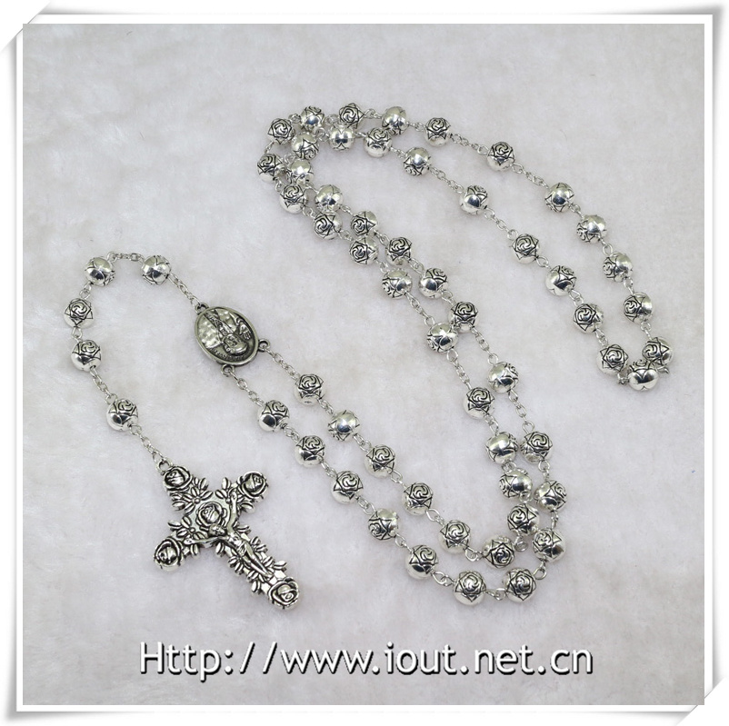 Rose Zinc Alloy Beads with Jesus Cross with Rosary Fashion Chain Beads Necklace Rosaries Design (IO-cr366)