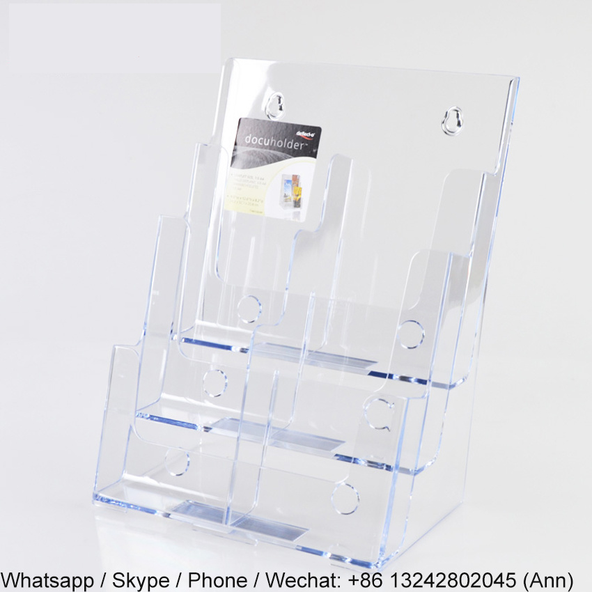 4 Pocket Acrylic Magazine and Newspaper Standing Display Rack/Brochure Holder