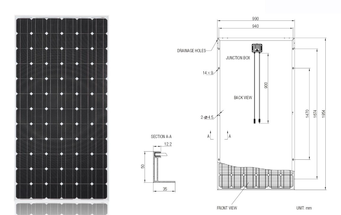 China 300w Solar System Pv Panel Monocrystalline Solar