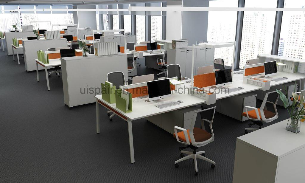 Uispair Modern High Quality MFC Board Telescopic Beam Staff Office Desk White Workstation Office Furniture