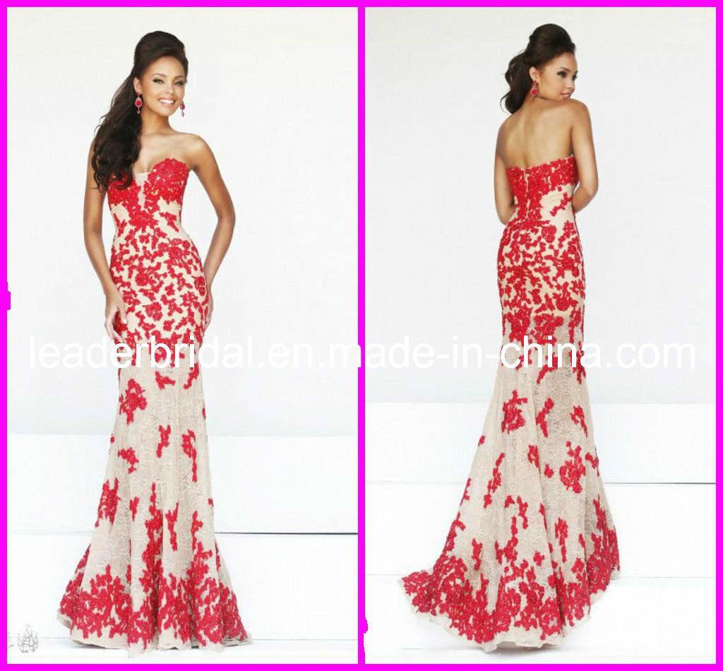 China Appliques Lace Evening Prom Party Dresses Strapless ...