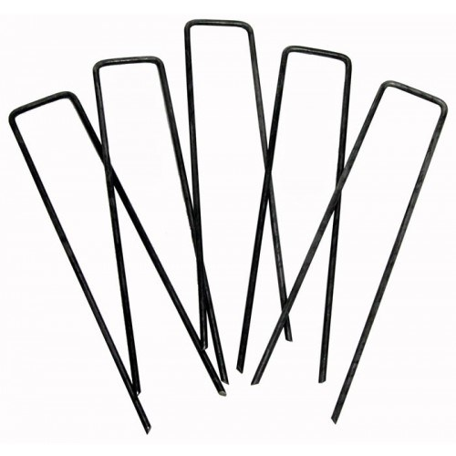 100pack Anti-Rust 6′′ 11 Gauge Heavy-Duty U-Shaped Garden Securing Pegs Galvanized SOD Staples Ideal for Securing Weed Fabric, Landscape Fabric, Ground Cloth