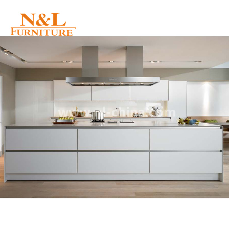 N&L Modern White MDF High Gloss Lacquer Kitchen Cabinet