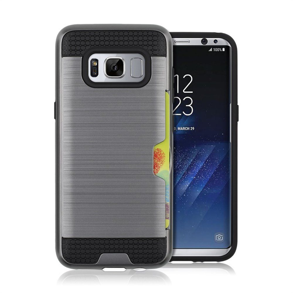 Dual Layer PC and TPU Shockproof Bumper Credit Card Holder Protective Case for Samsung Galaxy S8