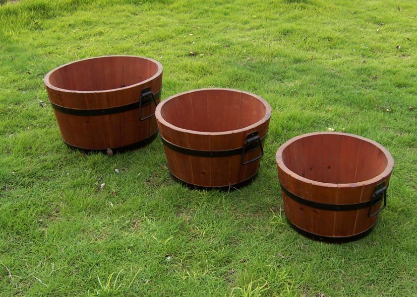 New Handmade Round Brown Wooden Barrel Planter Wooden Garden Feature
