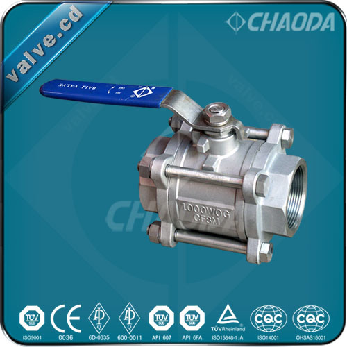 QS11f Female Threaded Three Pieces Ball Valve
