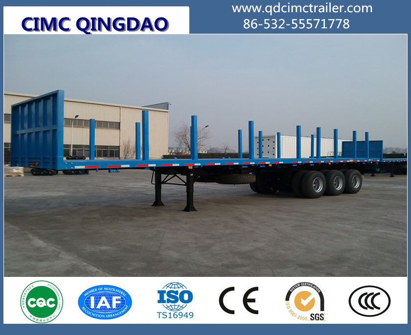 3 Axles 40 Tons Strong Body Flatbed Semi Trailer