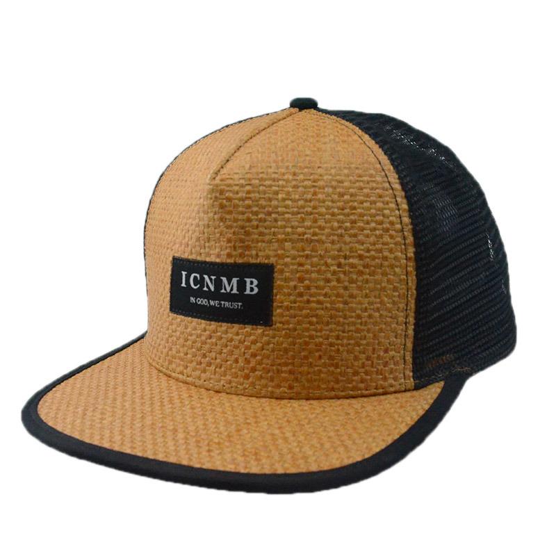 Custom Caps and Hats 6 Panels Straw Snapback Cap Flat Brim Cap