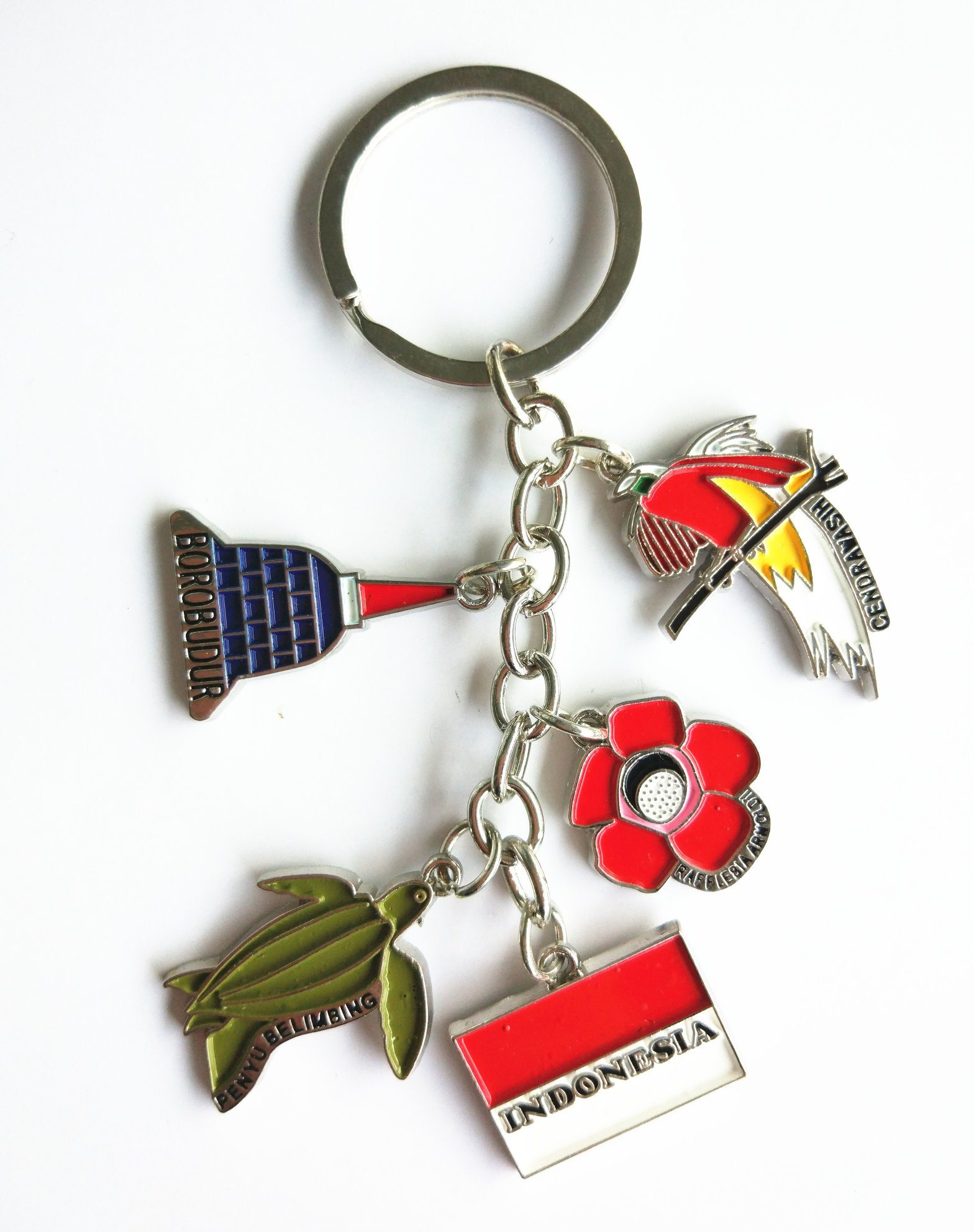 Souvenir Gift- Split Metal Key Chain Key Ring Color Painting with Small Logo Keychain Keyrings Key Holder