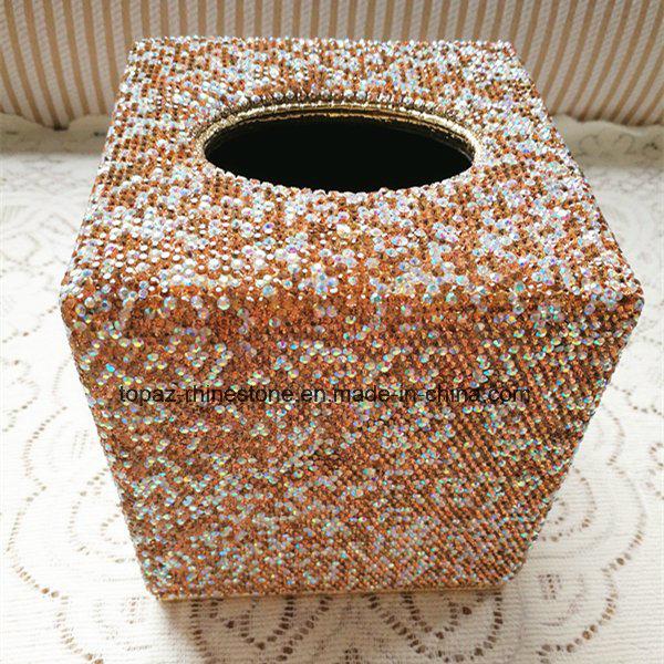 Car Home Square Crystal Diamond Tissue Box Container Towel Napkin Rhinestone Tissue Holder (TB-Square 017)