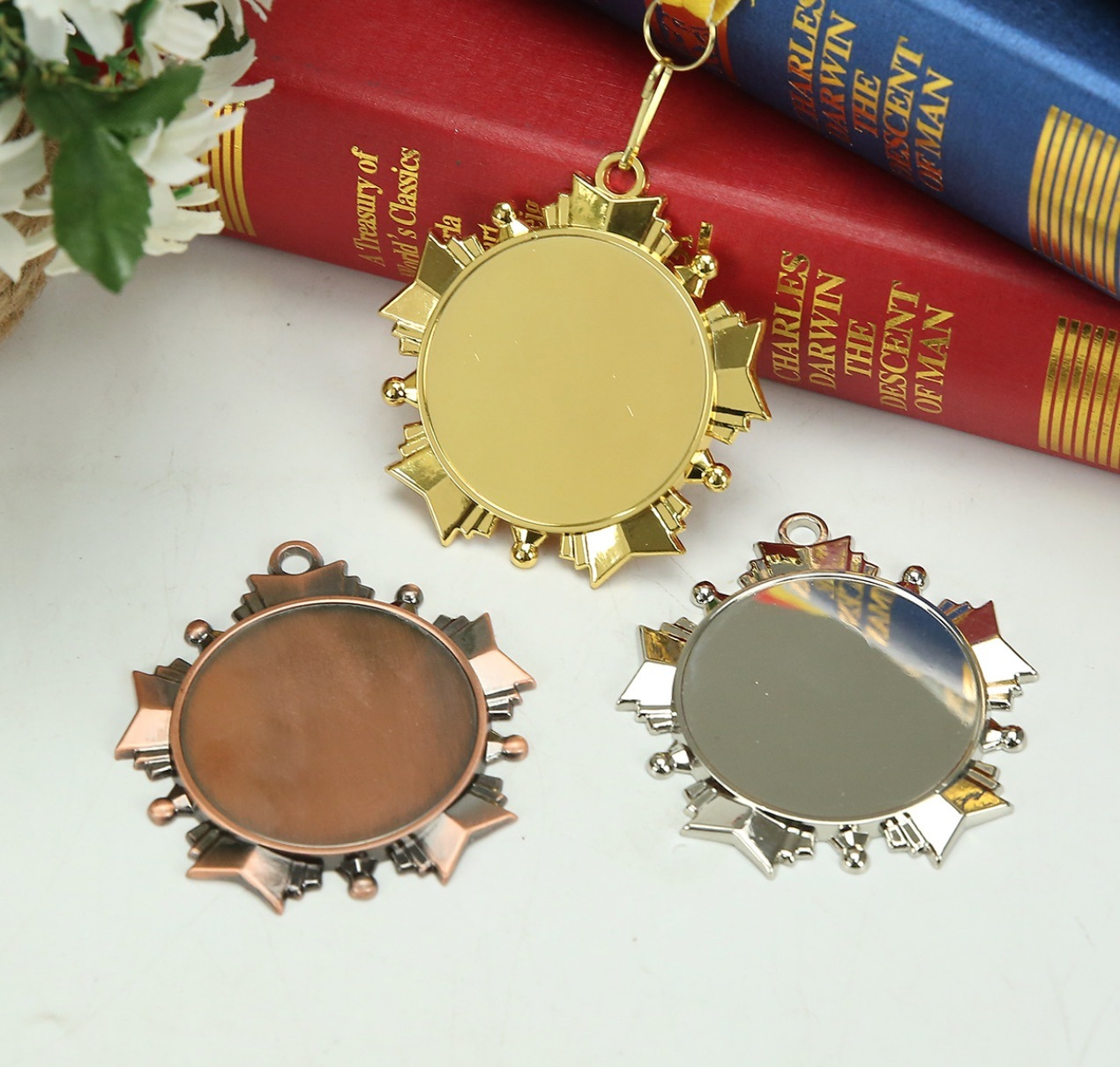70mm Gold Blank Zinc Alloy Insert Medal
