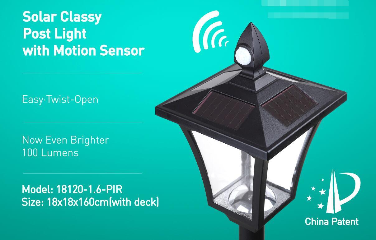 Solar Glassy Post Light with Motion Sensor