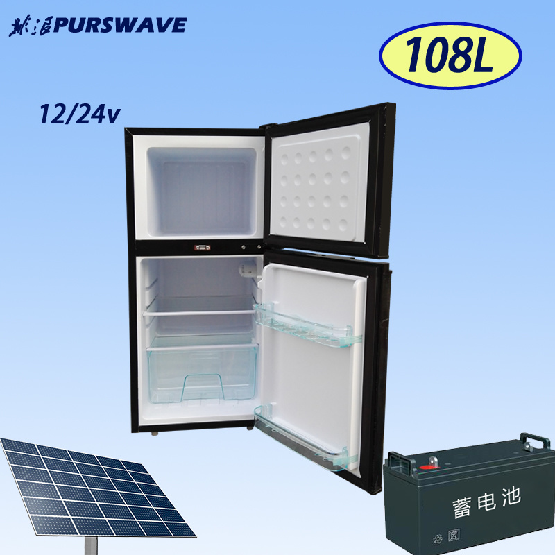 Purswave Bcd-118 118L DC12V24V Solar Fridge Vehicle Refrigerator Double Door Freezing & Cooling Style Compressor Refrigerating Freezer for Car Motor Bus Auto