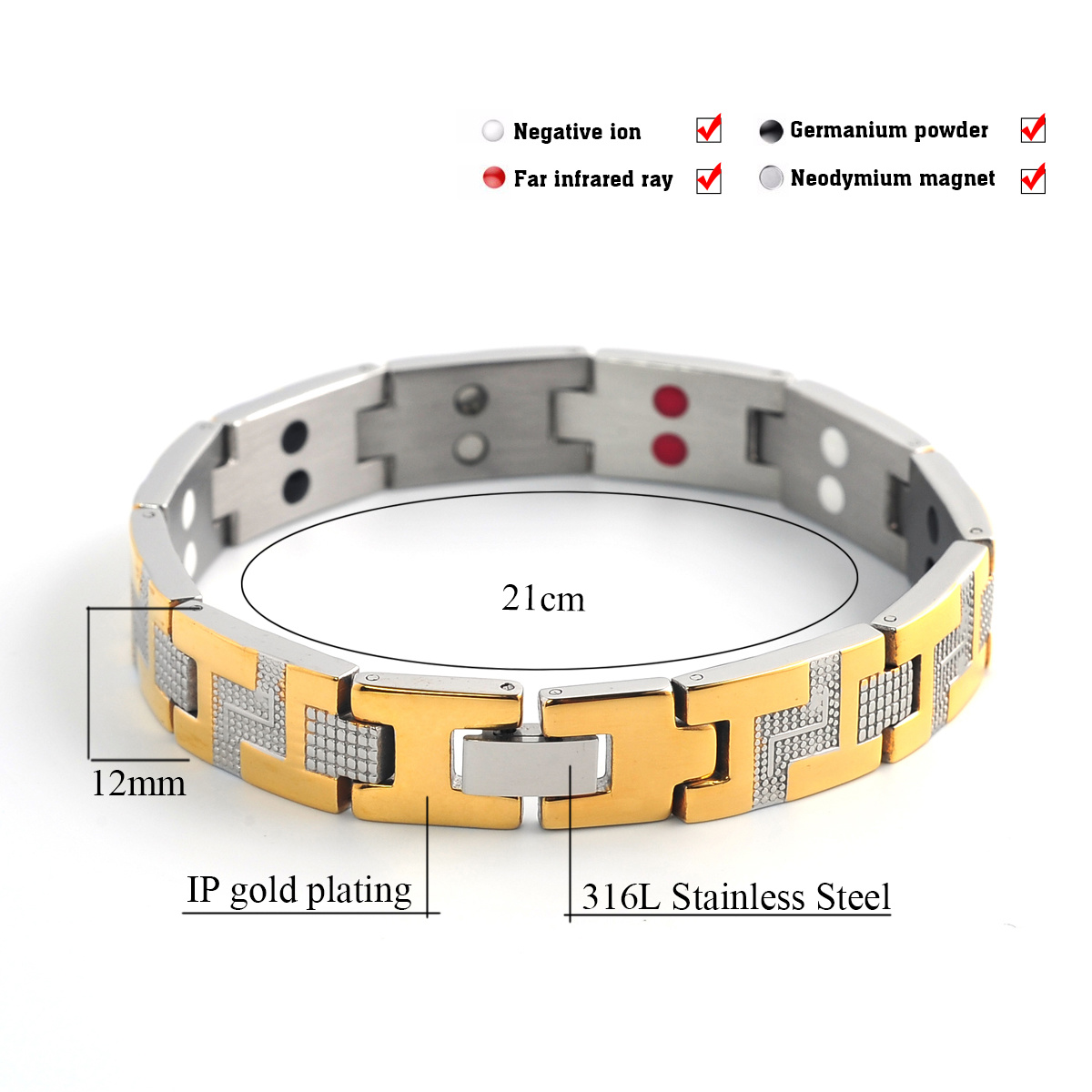 New Men′s 316L Stainless Steel Bracelet with 4in1 Bio Element
