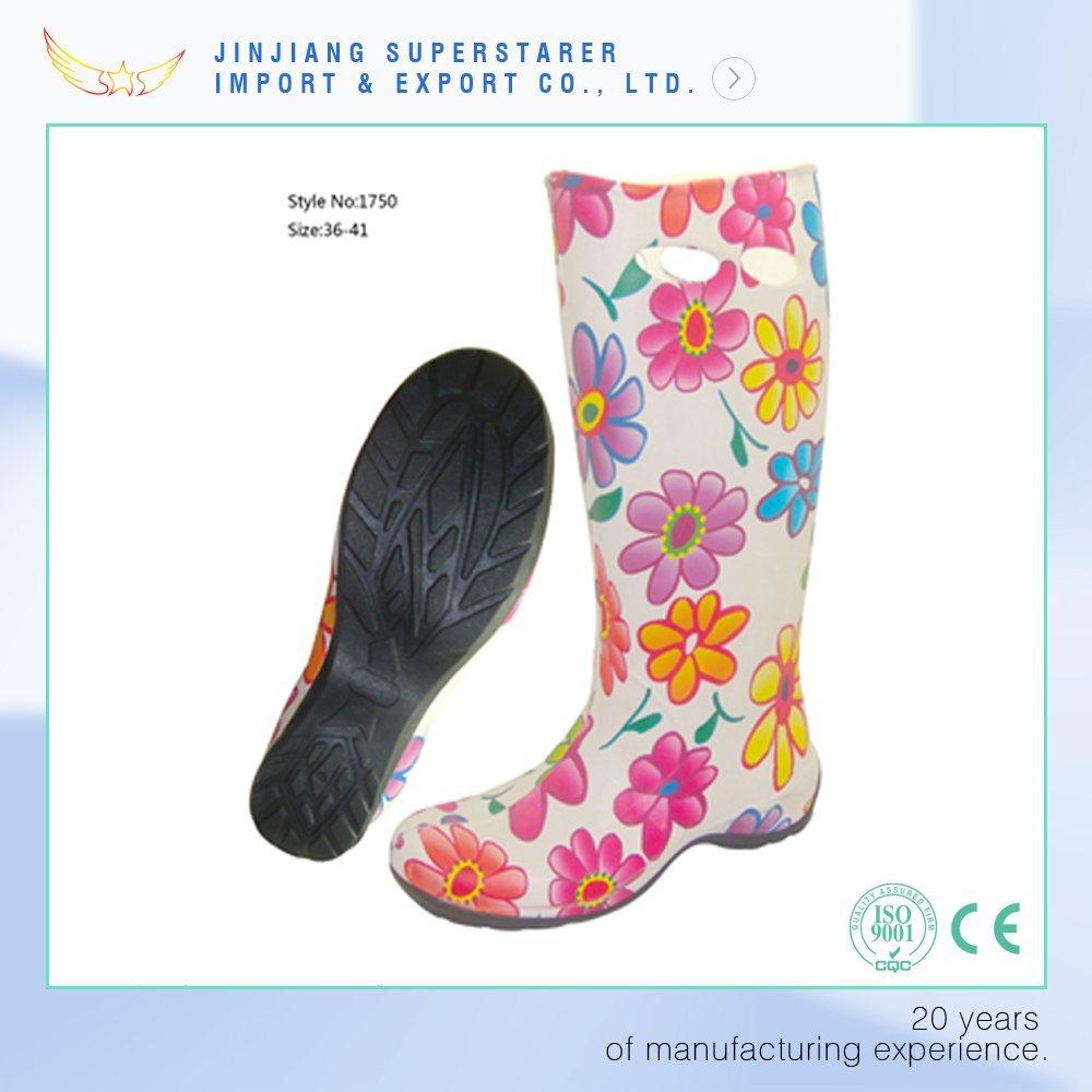 Flower Printing Anti-Slip Women EVA Garden Work Rain Boot