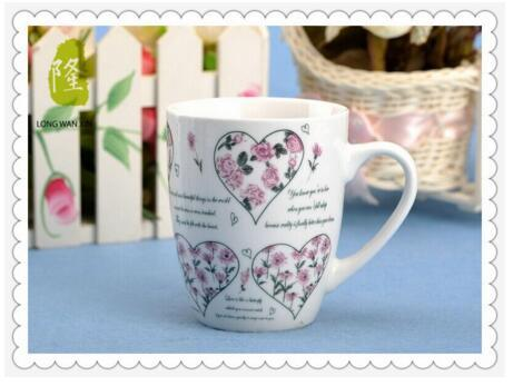 Porcelain Coffee Mug Cup 12oz Fine Full Flower Decal Porcelain Mug