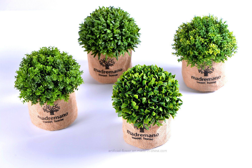 Different Artificial Plants (Cherry bay/Thyme/Rosemary etc) in Flax Bag for Indoor&Outdoor Decoration