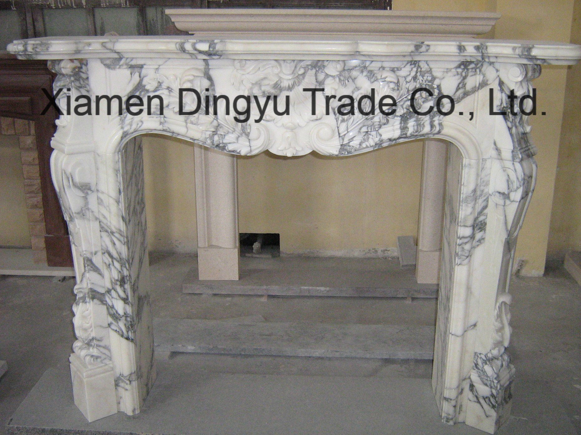 Modern White Marble Fireplace Surround