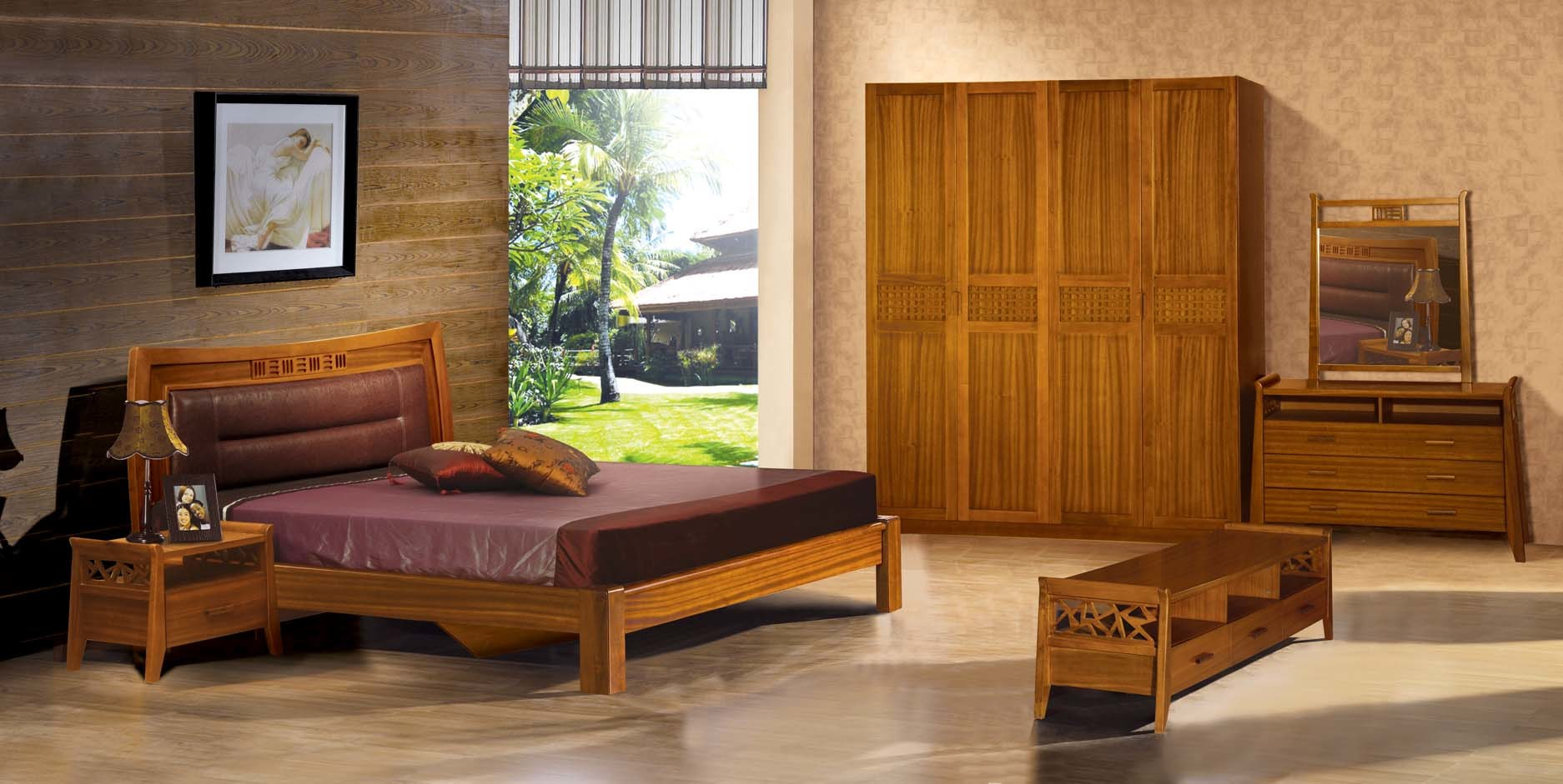 China Teak Wood Bedroom Set - China Bedroom Set, Bedroom Furniture