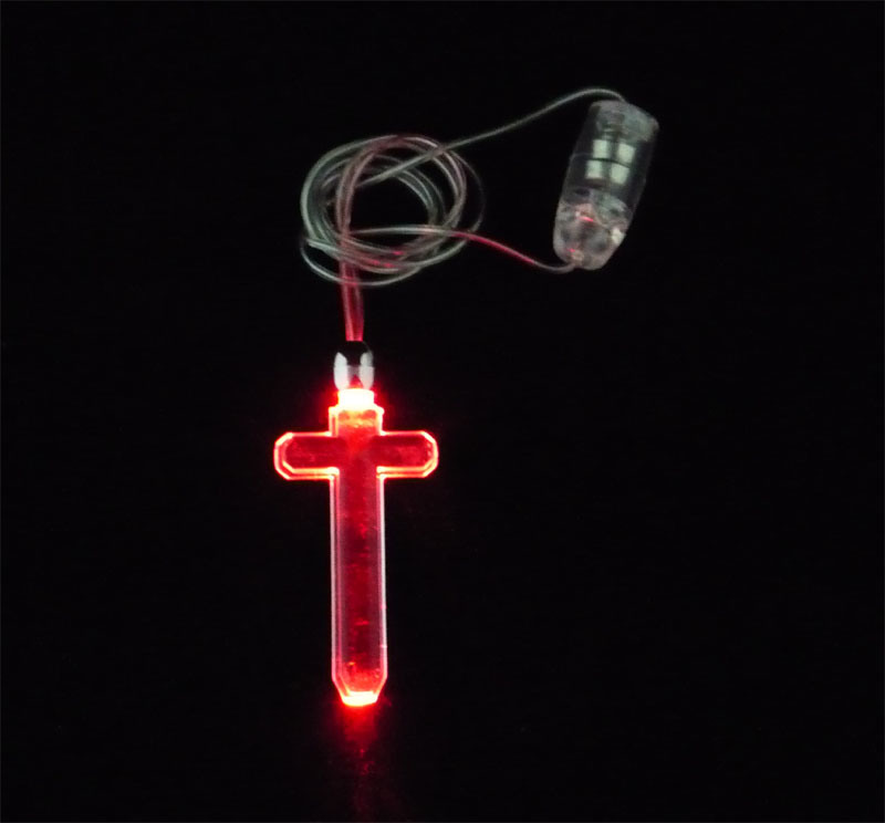 Cross Shape LED Flashing Necklace (QNK-102)