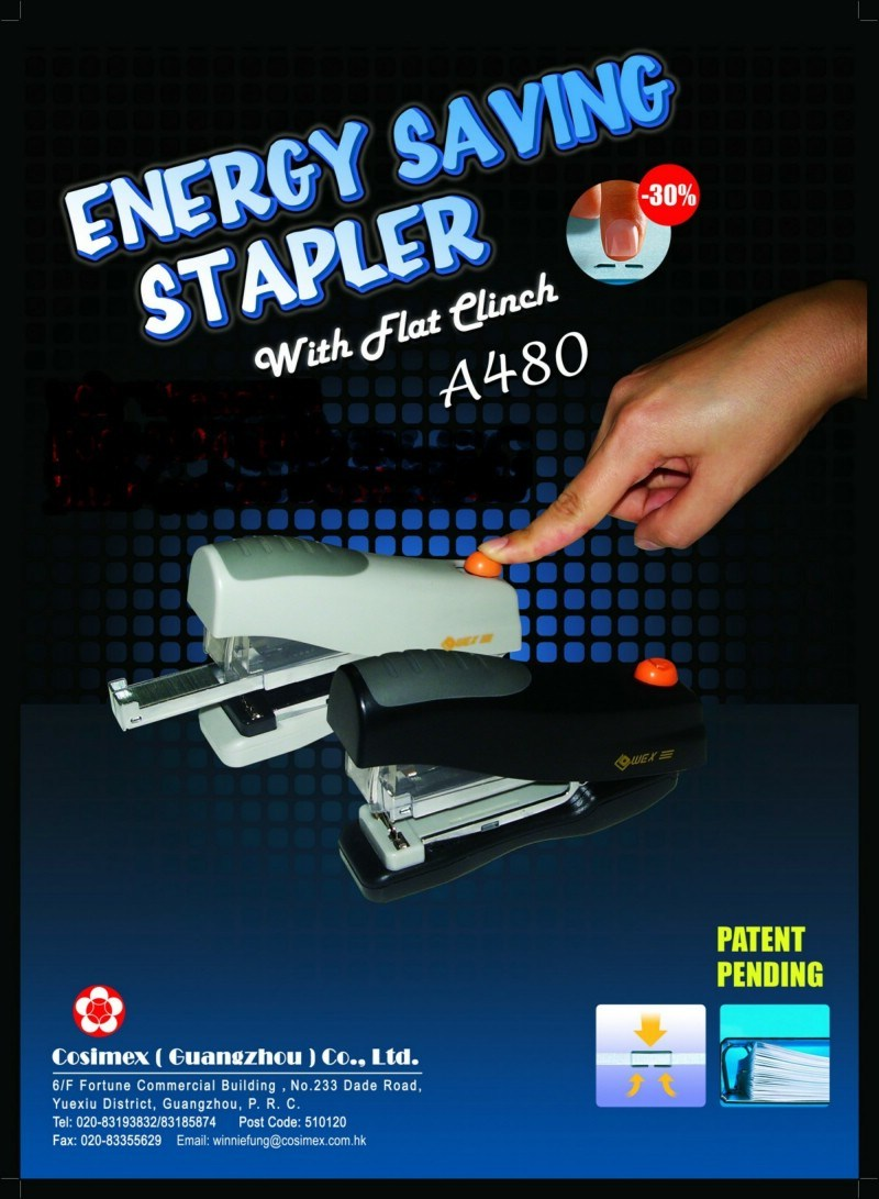 Energy Saving /Less force Stapler with Flat Clinch(A380)