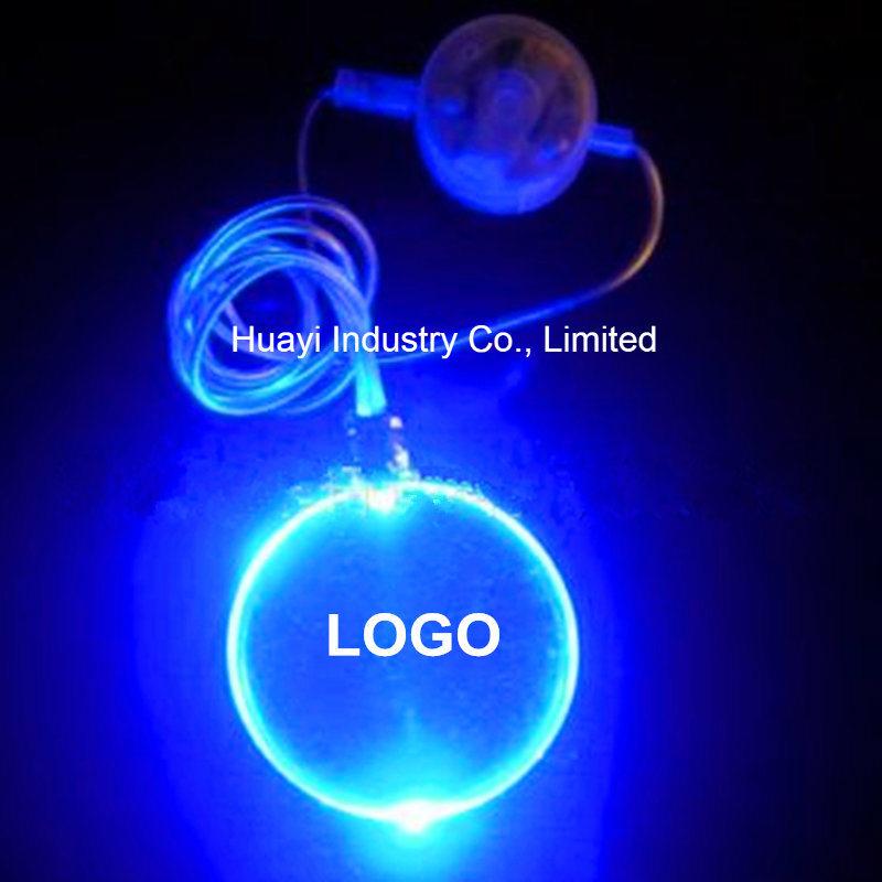 Imprint Logo Oval Shape Pendant LED Light up Necklaces