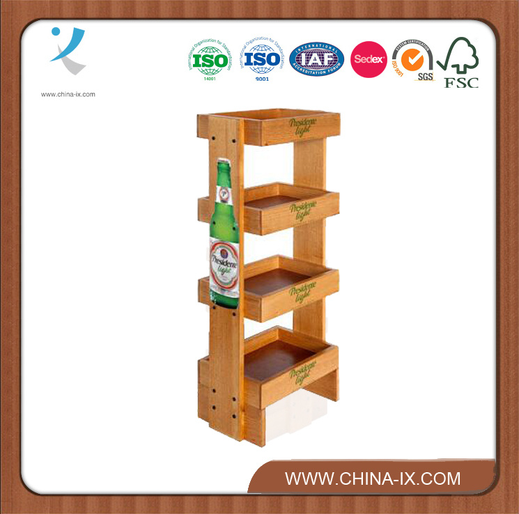 Customized Wood Pop Display Rack with Wheels