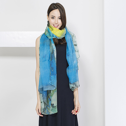 Digital Print Fashion Silk Scarf for Ladies