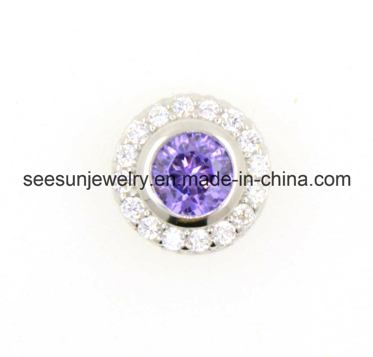925 Silver Jewelry Silver Pendant with Amethyst CZ