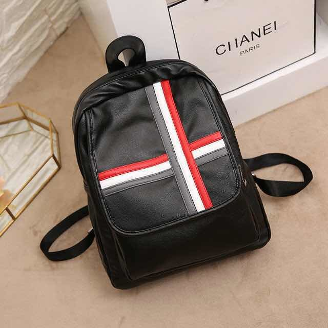 New Design Black Leather Custom Fashion Lady Backpack OEM Factory