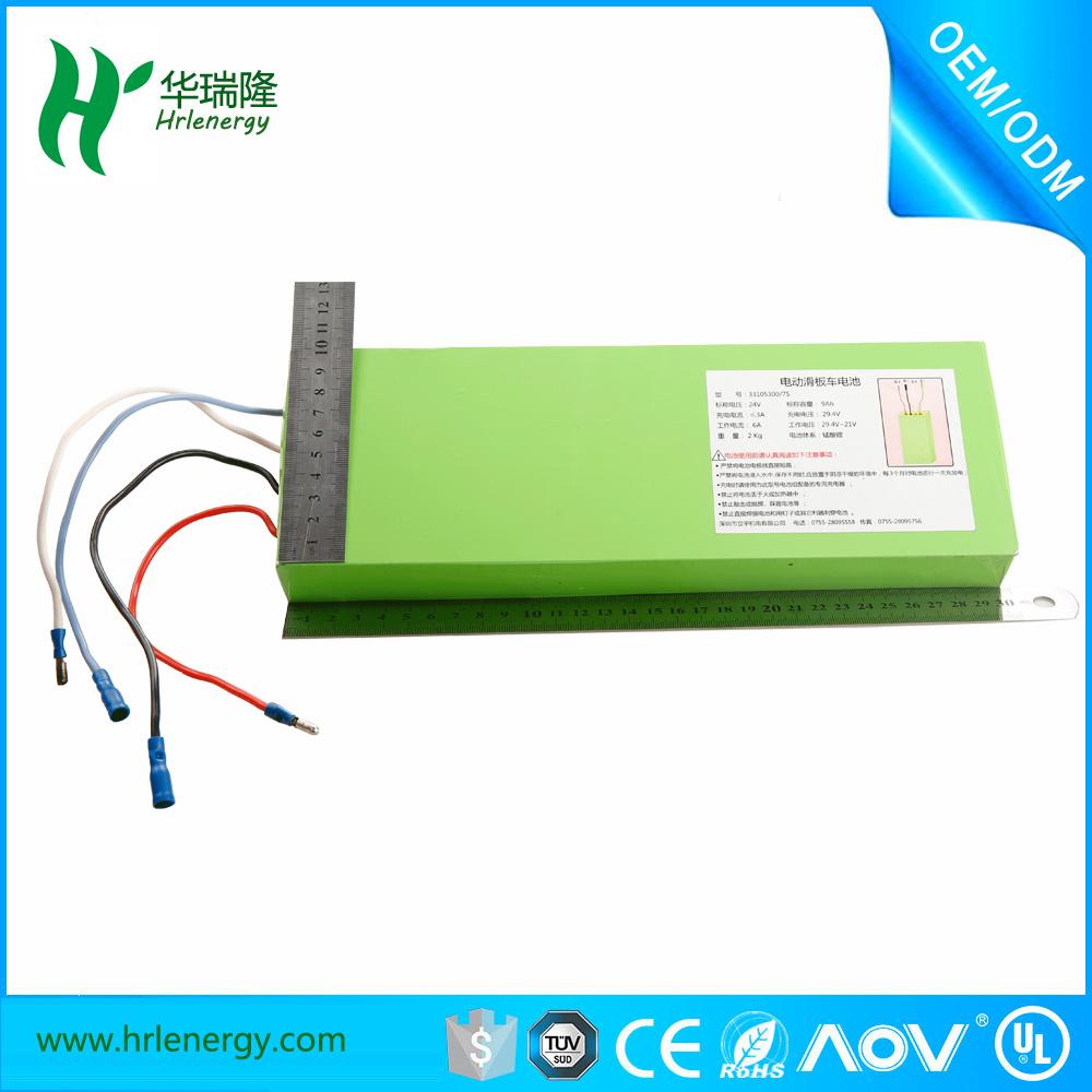 Hrl33105300 7s 2kg 9ah 9000mAh 24V Li-ion Solar Battery for Electric Scooter