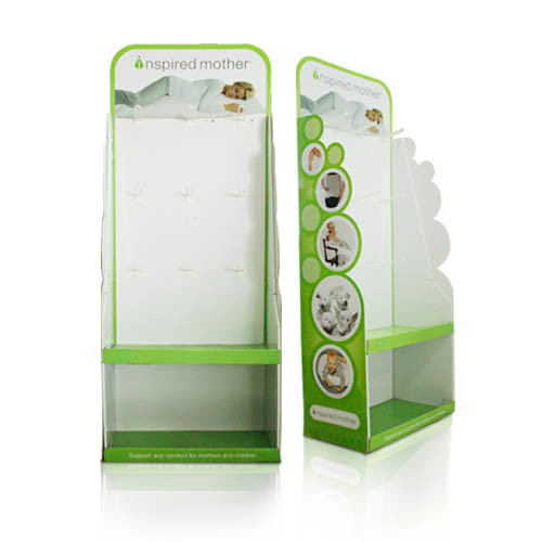 Cardboard Dumpbins Display, Floor Display Stand, Display Box with Hooks
